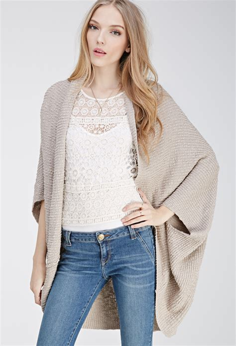 Cardigan Forever 21 lyst forever 21 ribbed dolman cardigan in