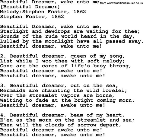 american song lyrics for beautiful dreamer
