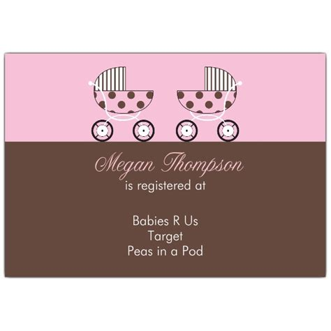 baby shower registration card templates baby shower pink registry cards paperstyle