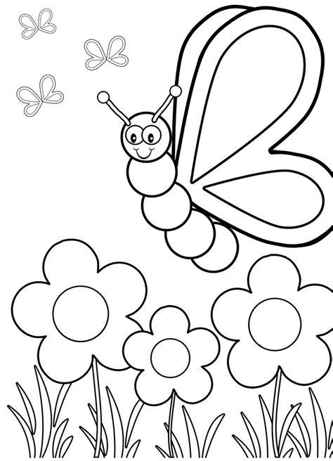 gambar mewarnai kupu kupu  bunga terbaru gambarcoloring