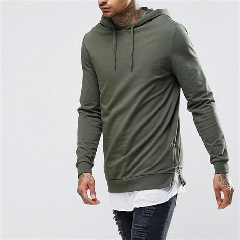 online shopping mens long plain hooded sweatshirt side slit zipper men s fashion hoodie