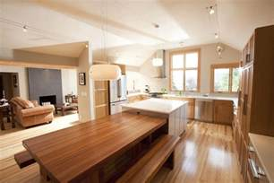 Kitchen Island With Dining Table Attached - table attached to island dining room modern with porcelain floor tile person standard height