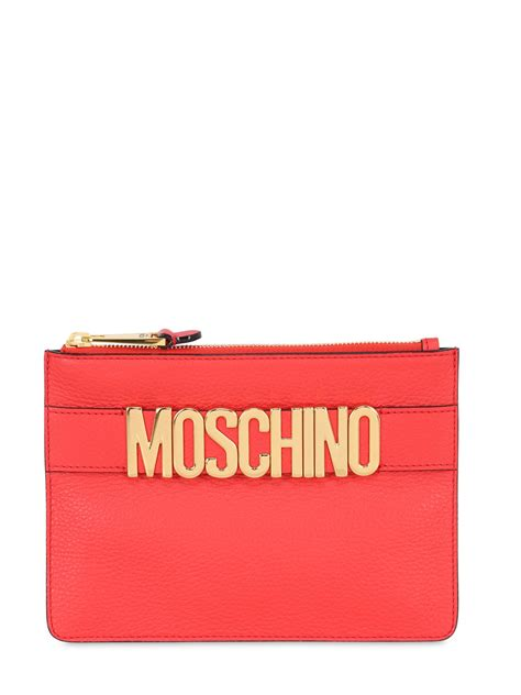 Lettering Zip Pouch moschino logo lettering leather pouch in lyst