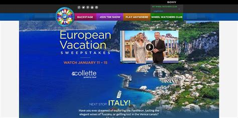 wheeloffortune com european vacation sweepstakes - Www Wheeloffortune Com Sweepstakes