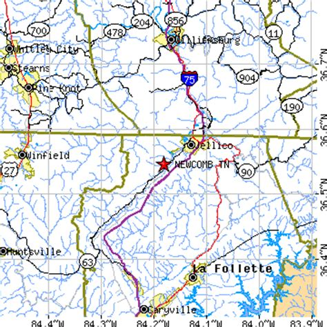 jellico kentucky map newcomb tennessee tn population data races housing