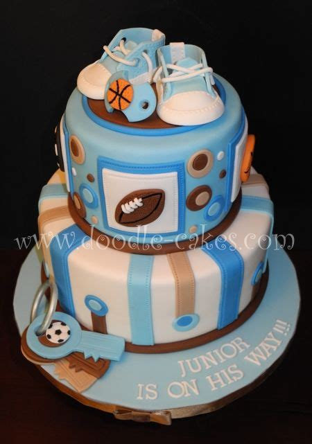 Sports Theme Baby Shower Cake by Sports Themed Baby Shower Cake