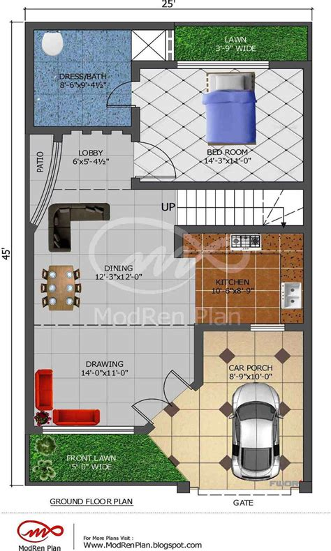 5 marla house plan 1200 sq ft 25x45 www modrenplan