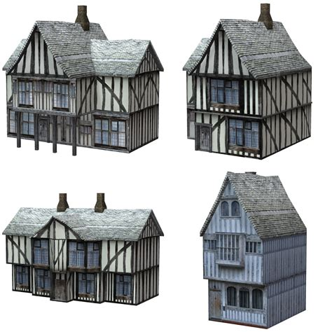 3d House Plans Free low polygon medieval buildings 3 for poser 3d models