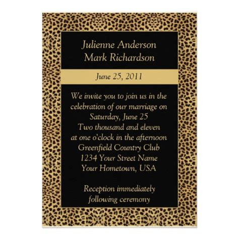 Leopard Print Wedding Invitations by Leopard Print Wedding Invitation Zazzle