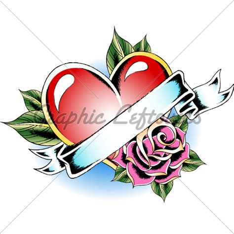 heart rose ribbon 183 gl stock images