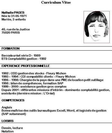Comment Créer Un Cv by Resume Format Formulaire De Cv 224 Remplir