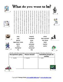 Jobs occupations worksheets english vocabulary printable worksheets