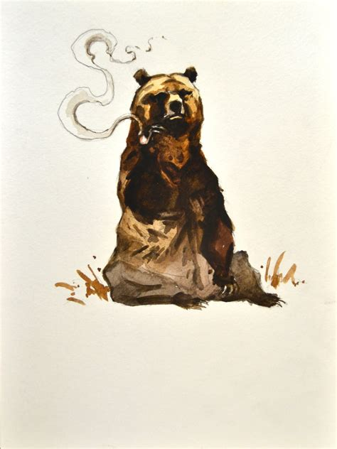 smoking bear painting watercolor original 7x9