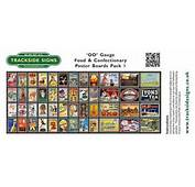 Food &amp Confectionary Station Poster Board Sheets Pack 1  OO Gauge