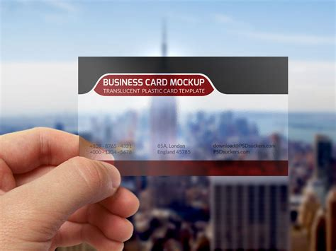 pvc card photoshop template translucent plastic business card mockup
