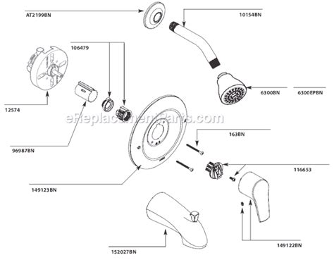 Shower Parts Names by Moen T2801bn Parts List And Diagram Ereplacementparts