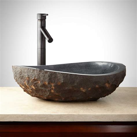 asymmetrical granite vessel sink with dark granite chiseled exterior vessel sinks bathroom