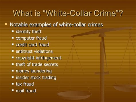 exle of white collar crime ch 9 white collar and organized crime