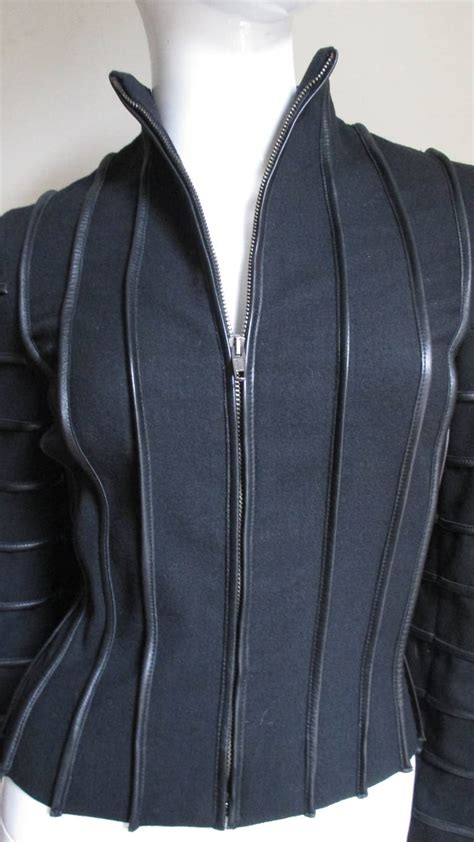 Sale Jacket 3 In 1 World Chion moschino wool jacket with leather piping for sale at 1stdibs