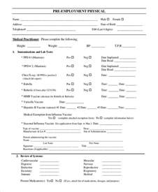 physical template form sle physical form 8 exles in word pdf