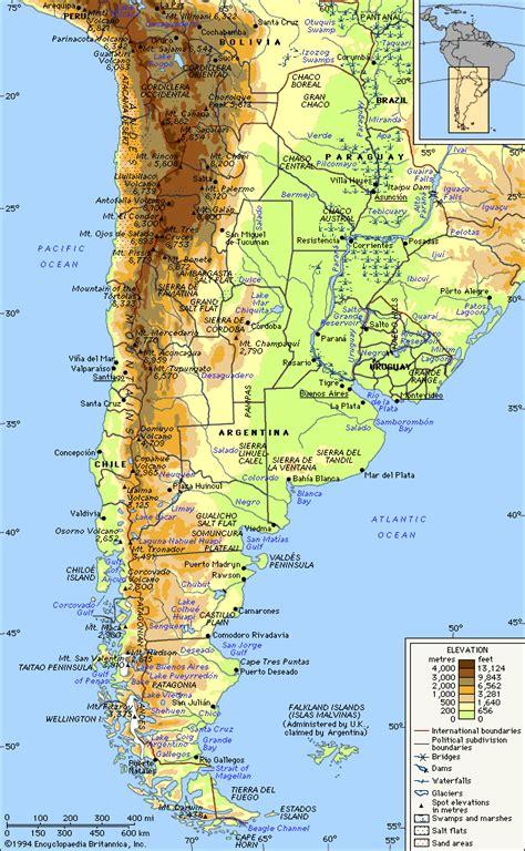 argentina physical map la argentina map culturespanishamerica