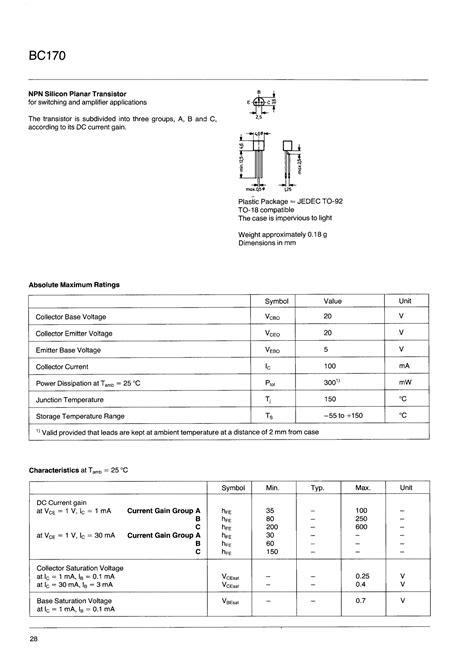 datasheet transistor npn c828 bc170 データシート pdf npn silicon planar transistor