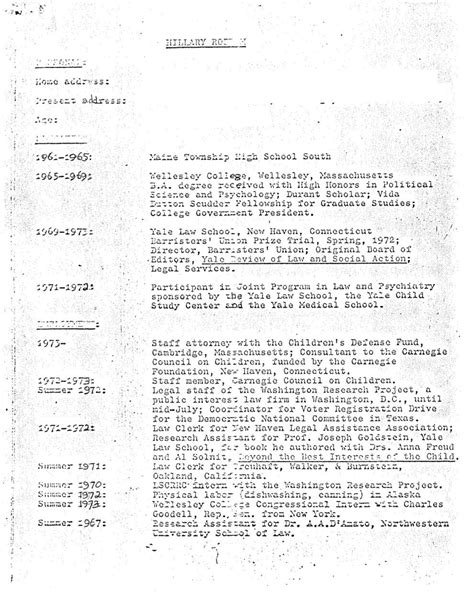 Clinton Resume by Bill Clinton Resume Resume Ideas