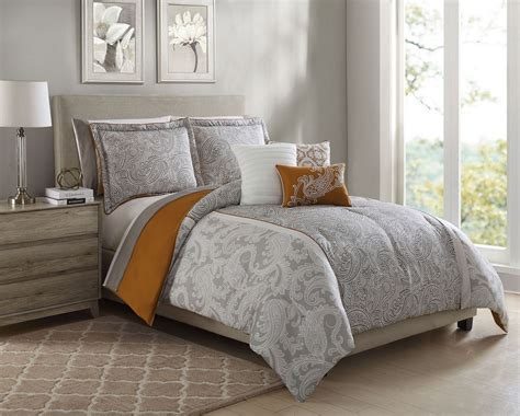 orange comforter 10 piece annalise taupe orange ivory comforter set w sheets