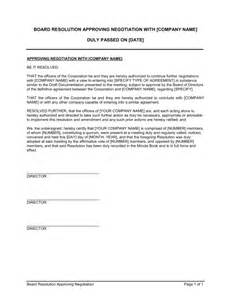 resolution template for board of directors board resolution approving negotiation template sle