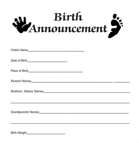 free printable photo birth announcements templates birth announcement template 9 free documents in