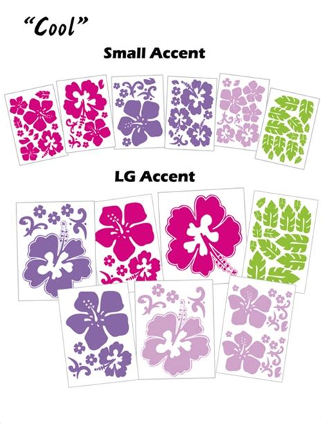 hawaiian hibiscus flowers wall decals stickers