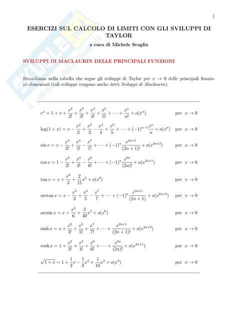 tavola limiti notevoli analisi matematica esercizi svolti