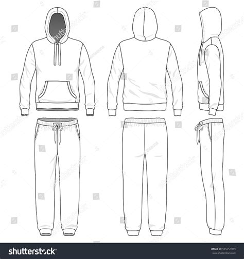 Blank Mens Sweat Suit Front Back Stock Vector 185253989 Shutterstock Sweatpants Template Vector