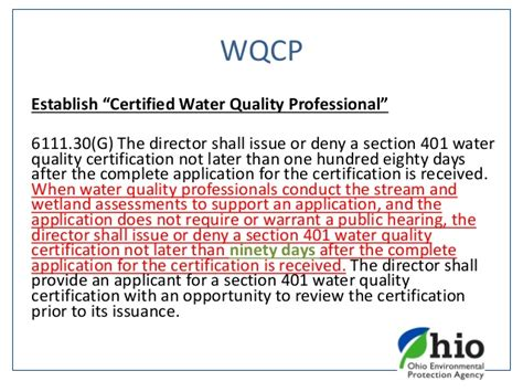 section 401 water quality certification tiffani kavalec ohio epa ohio division of surface water