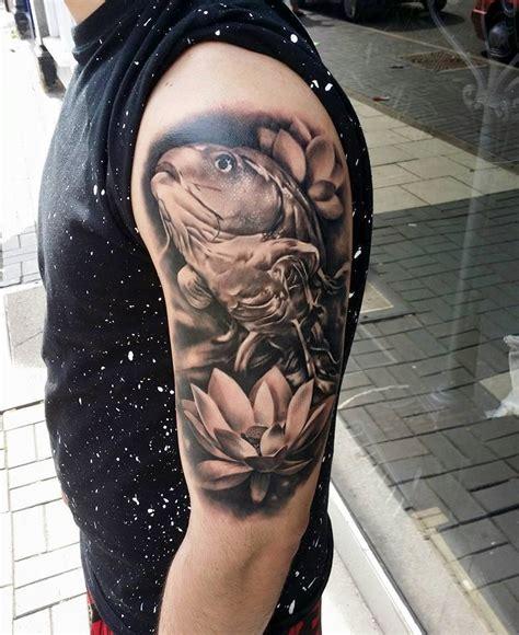 lotus sleeve koi fish on right half sleeve for
