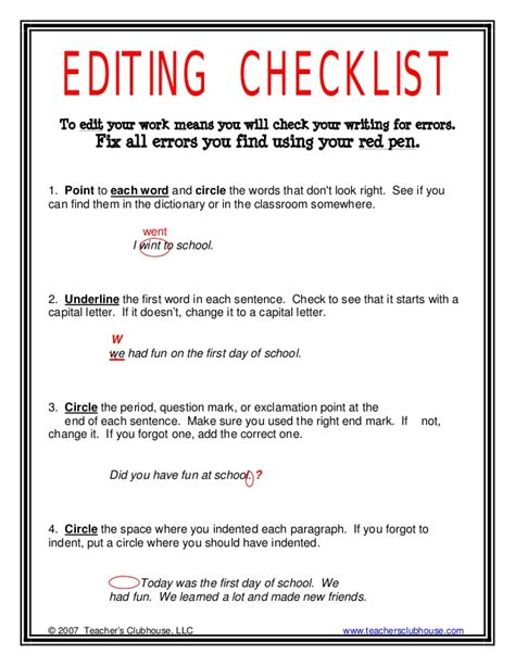 editing template editing checklist
