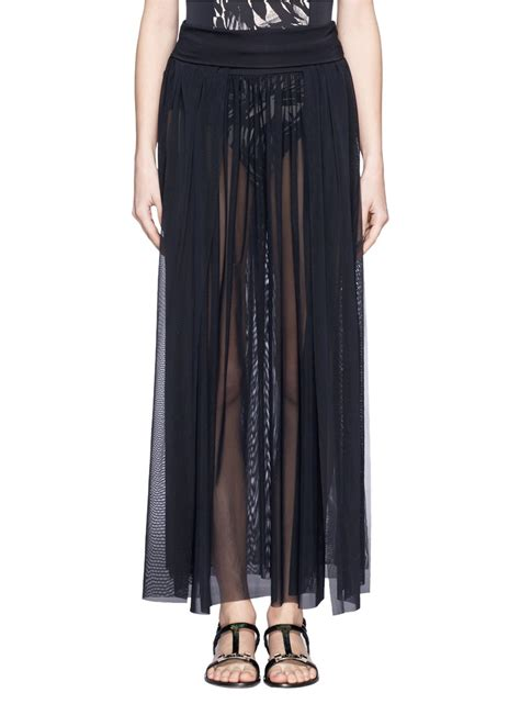 jets by jessika allen sheer mesh maxi skirt in black lyst