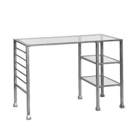southern enterprises glass top metal writing desk in