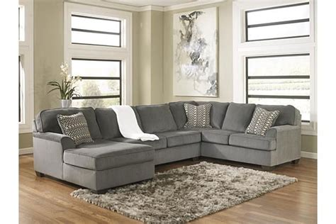 loric sectional smoke loric 3 piece sectional view 1 ashley furniture