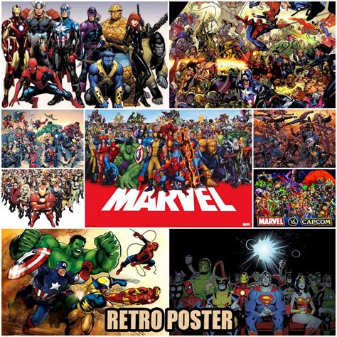Marvel Heroes Decorative Artifacts by Marvel Posters Kraft Paper Collage Paintings