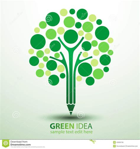 Great Green Idea Save Our Trees by Pencil Tree Stock Vector Image 43006706
