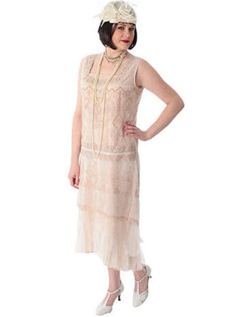1920's Style Ivory and Beige Embroidered Drop Waist Tea Dress   Blue Velvet Vintage