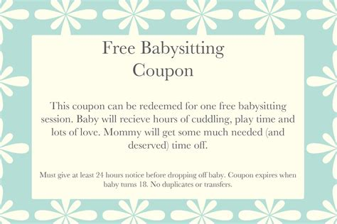Babysitting Coupon Book Template free babysitting coupon template memes