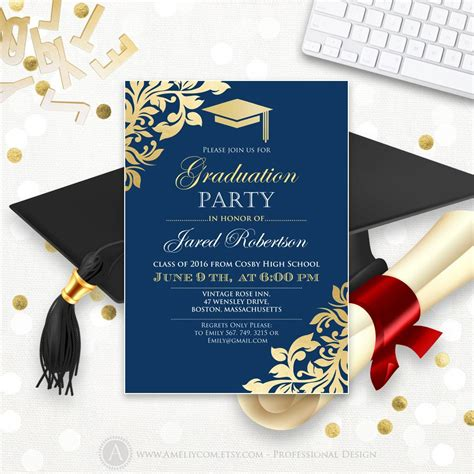 Graduation Announcement Printable Navy Gold College Graduation Graduation Announcement Template