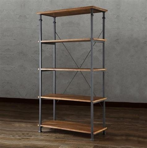 solid wood bookshelf reclaimed look wood wrought iron