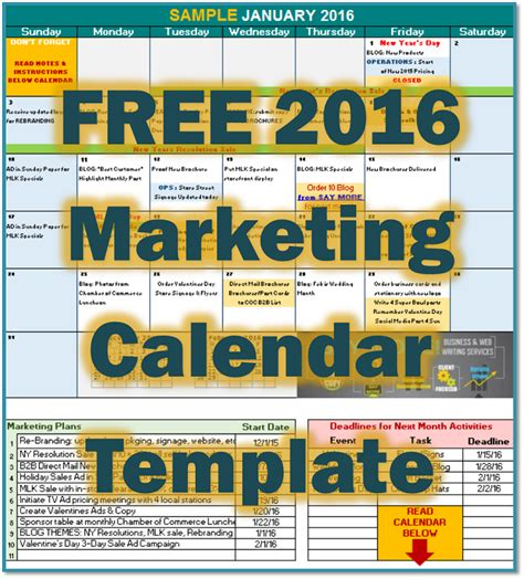 Marketing Calendar Template 2016 Free 2016 Marketing Calendar Template Say More Services