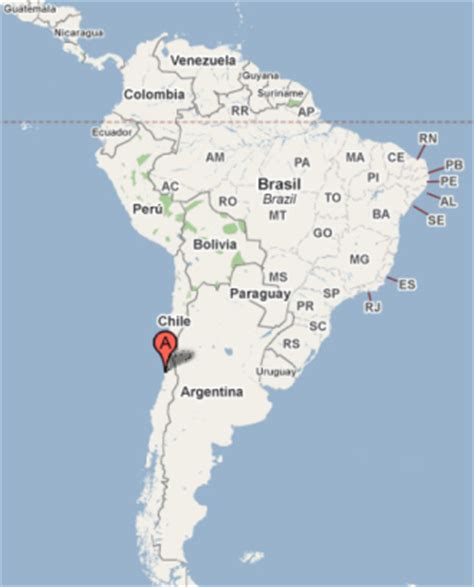 santiago chile on world map valparaiso map