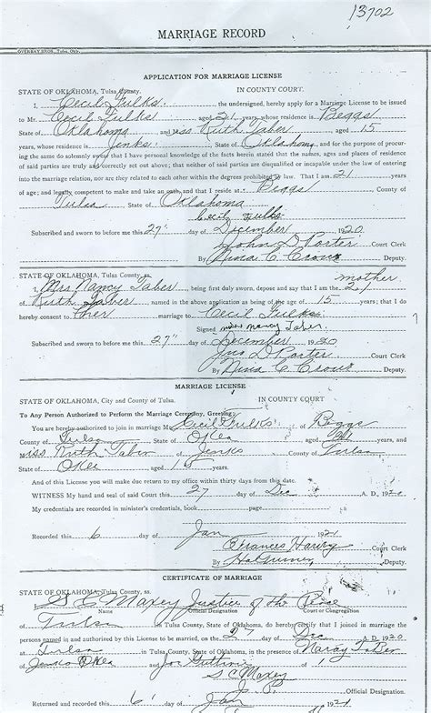 Marriage License Oklahoma Records Rdfulks Genealogy For Cecil Roy Fulks
