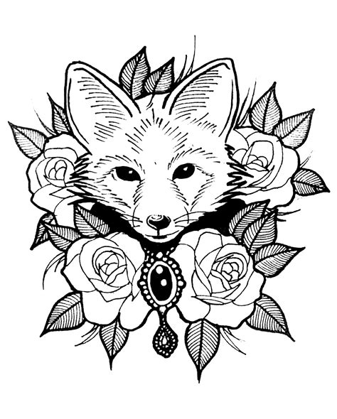 coloring pages for adults fox fox with roses animals coloring pages for adults