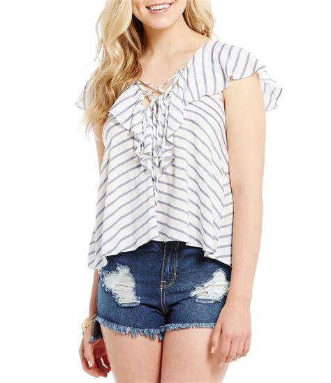 Stripe V Neck Top White Blue Size Ml gb striped lace up v neck ruffle top dillards